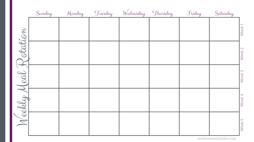 image of meal planning calendar