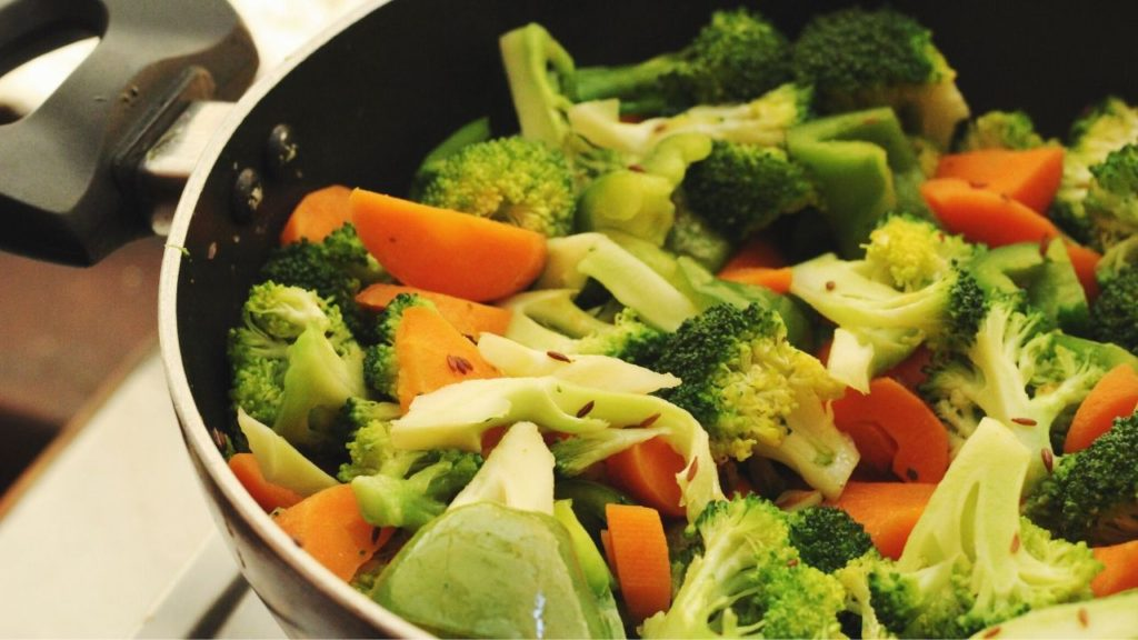 photo of healthy food cooking