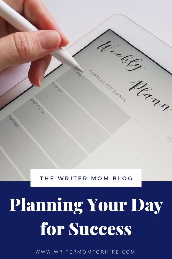 pinterest graphic that say planning your day for success