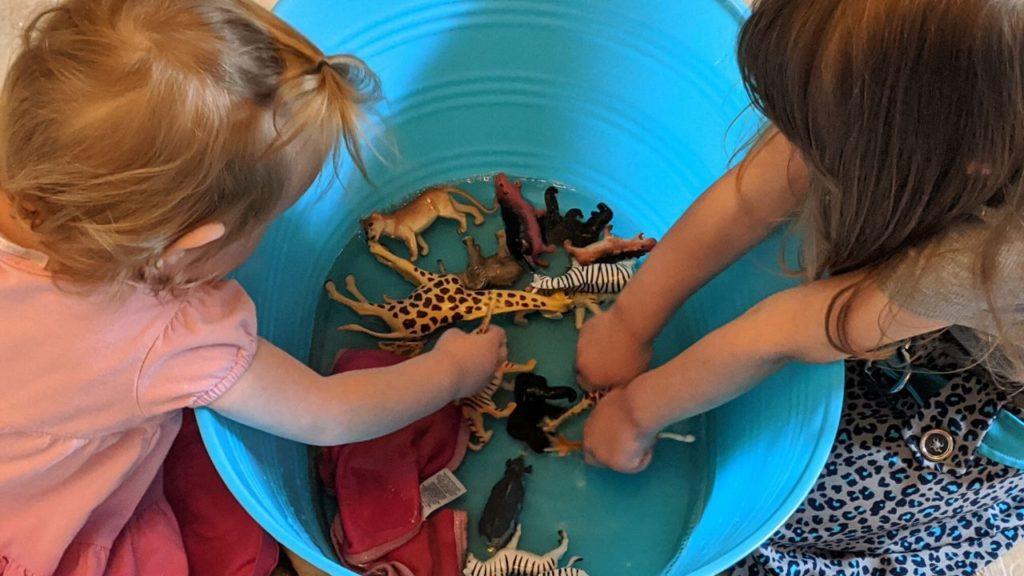 photo of my girls bathing their safari animals