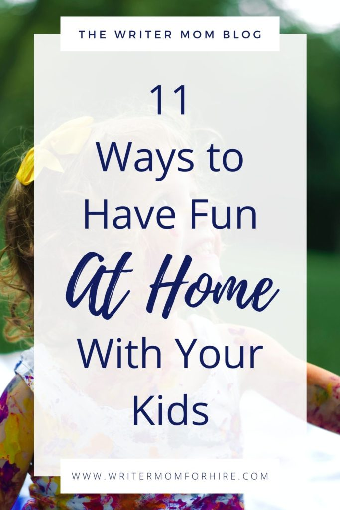 pinterest graphic to accompany the blog post about things to do with toddlers at home when bored